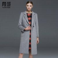 颜域品牌女装2017秋冬新款欧美西装领中长款加厚保暖毛呢外套大衣