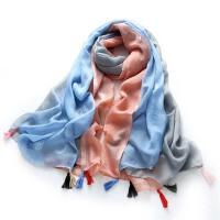 秋冬季围巾女士 民族风拼色流苏冬天保暖围巾女丝巾