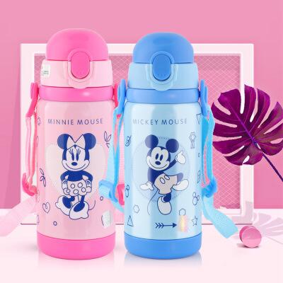 2018新款迪士尼背带吸管保温杯304不锈钢儿童健康安全水杯
