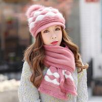 帽女冬护耳毛线帽鸭舌针织百搭冬天女帽子围巾两件套