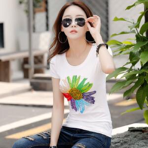 夏季镶钻短袖T恤女韩版修身棉质体恤衫女装上衣半袖打底衫