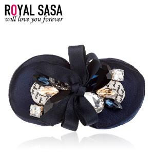 皇家莎莎Royalsasa发夹发饰人造水晶蝴蝶结女头饰韩版发卡顶夹盘发弹簧夹饰品
