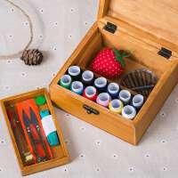 木制针线盒套装针线包手缝线家庭用便携式缝补工具收纳盒