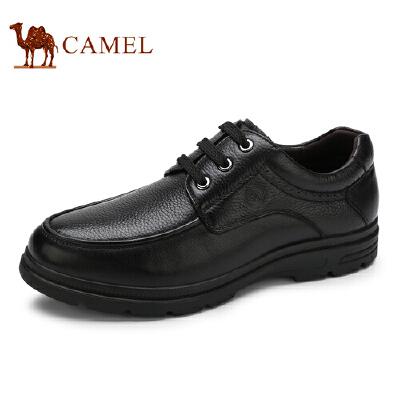 骆驼牌 男鞋 新品商务休闲男皮鞋头层牛皮厚底低帮男鞋