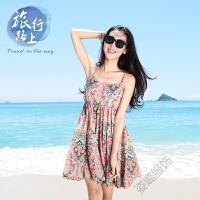 夏季波西米亚连衣裙吊带沙滩裙泰国碎花雪纺短裙子海边度假女 泰国风情