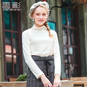 香影天鹅绒上衣女 2017冬装新款时尚半高领刺绣长袖t恤百搭休闲