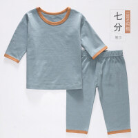 儿童家居服套装纯棉男童夏天薄款女童九分袖睡衣七分袖空调服男孩