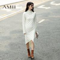 【AMII 超级品牌日】AMII[极简主义]冬高领落肩不规则下摆腈棉毛衣连衣裙11614215