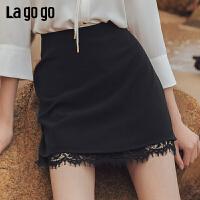 【年终狂欢节两件四折/叠满200-10优惠�弧�Lagogo2019年夏季新款裙子黑色短裙a字雪纺半身裙女IABB133