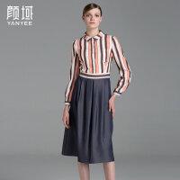 颜域品牌女装2017夏装新款复古条纹拼牛仔摆衬衫式修身长袖连衣裙