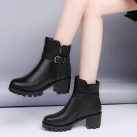 韩版粗跟水台圆头英伦风短靴女秋冬加绒马丁靴短筒复古高跟女鞋 黑色 36