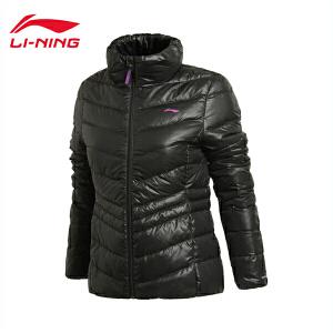 李宁短款羽绒服女士训练系列轻质保暖立领冬季90%白鸭绒运动服 AYMJ082
