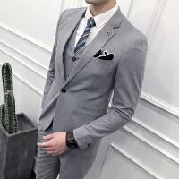 西服套装男士商务正装新郎伴郎结婚礼服三件套韩版纯色修身西服潮
