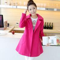 【支持礼品卡支付】春季新款女装韩版中长款斗篷型双面呢子大衣红色毛呢外套大衣xqn615