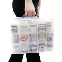 简约可叠加式收纳盒 胶带透明手提收纳盒收纳箱 手帐文具玩具带提手三层收纳箱