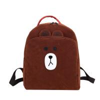 布朗熊原宿书包女韩国ulzzang女式双肩背包可爱小熊双肩包校园潮 绒面咖啡色布朗熊 质量好哦