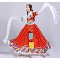 新款藏族蒙古族舞蹈大裙摆表演服少数民族开场舞长水袖演出服饰女2018新品