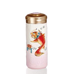 乾唐轩活瓷杯新鱼跃龙门彩绘鎏金随身杯创意陶瓷茶水杯子礼品杯