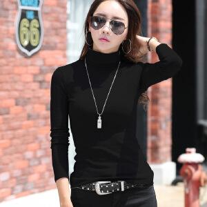 卡茗语2017秋季新品韩版高领长袖T恤女士纯棉修身显瘦打底衫