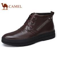 camel 骆驼男鞋冬季新品高帮鞋日常休闲鞋加绒系带软底驾车鞋