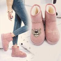 ins雪地靴女短靴女鞋子女学生韩版韩国学院风冬季原宿风鞋子女鞋 粉红色