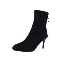茹思曼秋冬款短单靴细粗跟圆头弹力靴高跟中筒靴裸靴舒适马丁靴女 黑色单里细跟 35