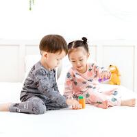 【2件2折价:29.9元】婴儿保暖加绒儿童内衣套装0-4岁宝宝秋衣套装加绒婴儿卡通两件套