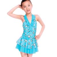 儿童泳衣女童连体裙式中大童游泳衣学生女孩泳装
