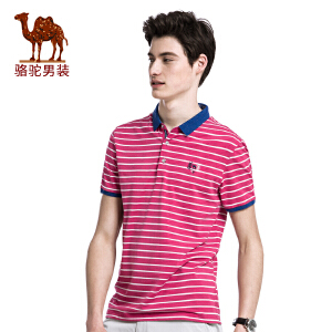 骆驼男装 夏季新品时尚男士翻领绣标条纹商务休闲短袖T恤衫男