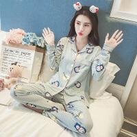 睡衣女秋季春韩版冬公主风可外穿甜美可爱长袖卡通家居服宽松纯棉 748叮当猫开衫套
