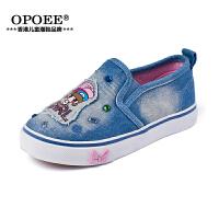 儿童帆布鞋鞋子小女孩套脚布鞋牛仔