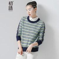 初语秋季新款 撞色圆领几何提人字织带毛衣女8630423026