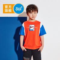 361度童装 男童短袖中大童2021夏季短袖T恤儿童透气速干针织衫T