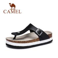 Camel/骆驼女鞋 夏季新款 休闲清凉女拖鞋 简约厚底人字拖