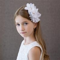 儿童礼服发饰婚纱配饰大花朵镶钻头花