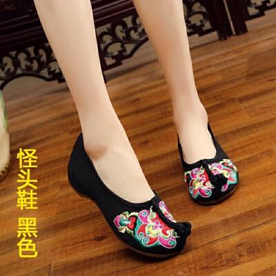 绣花鞋老北京布鞋牛筋底坡跟中跟隐形内增高婚鞋广场舞鞋女鞋单鞋 D-怪头鞋 黑色