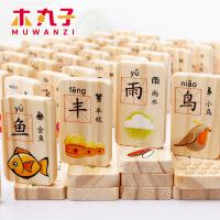 木丸子儿童玩具木制积木玩具多米诺双面印刷汉字骨牌益智玩具 周岁生日圣诞节新年六一儿童节礼物