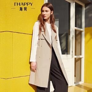 【街拍】海贝2017年秋季新款女装 西装领双排扣系带中长款马夹休闲外套