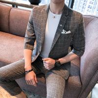 格子西装两件套装 夏款薄五分袖中袖半袖男士休闲i小西服+九分裤