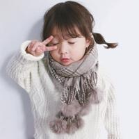 儿童围巾毛线球球秋冬宝宝男童女童围脖