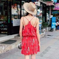夏季波西米亚吊带裙露背收腰短裙A字裙无袖印花连衣裙度假沙滩裙 红色