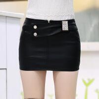 女士皮裙半身裙2018新款百搭超短一步裙性感防走光PU皮包臀裙春秋 黑色