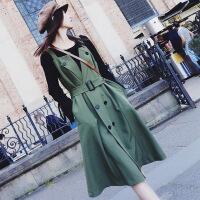 秋冬季洋气两件套装胖mm显瘦裙子网红大码心机胯宽大腿粗的女生潮 绿色 大码XXL