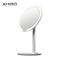 AMIRO 高清日光智能led化妆镜子 带灯台式便携美妆镜 MINI小白镜
