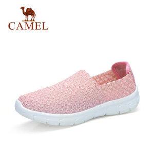 camel 骆驼春季新品时尚轻便透气休闲鞋弹力套脚情侣款编织鞋