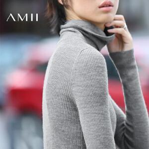 AMII[极简主义]秋冬新品纯羊毛修身高领套头薄款打底毛衣女装
