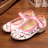 老北京布鞋女童内增高民族风舞蹈演出鞋汉服儿童中国风绣花鞋坡跟