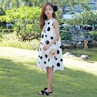 韩版童装系扣大点点连衣裙经典波点复古女童中大童亲子装夏 白色