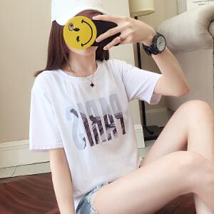 韩版ins短袖t恤女夏装白色学生宽松韩范潮打底衫女�b上衣
