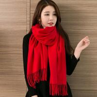 围巾女秋冬季冬天英伦潮流年轻人春秋季长款披肩年会红色